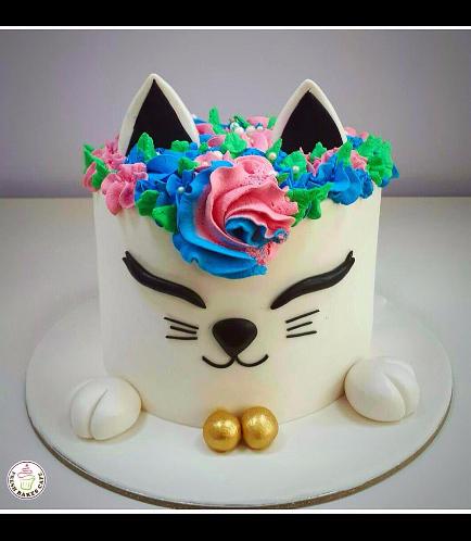 Cat Themed Cake - Cat Head - 2D Cake  - Fondant Cake 02a