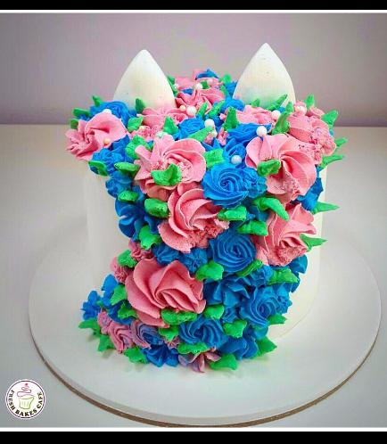 Cat Themed Cake - Cat Head - 2D Cake  - Fondant Cake 02b