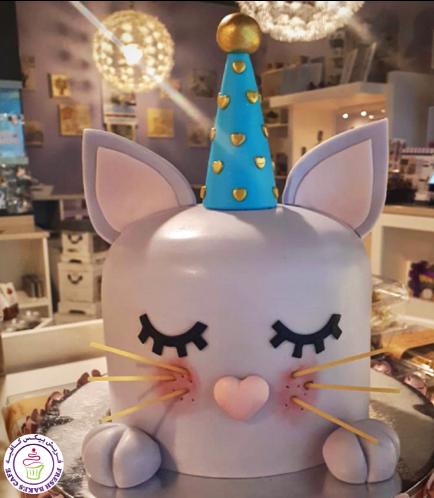 Cat Themed Cake - Cat Head - 2D Cake  - Fondant Dome Cake 04