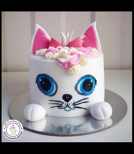 Cat Themed Cake - Cat Head - 2D Cake  - Fondant Cake 06