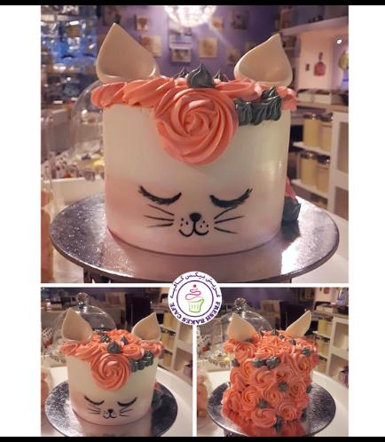 Cat Themed Cake - Cat Head - 2D Cake  - Fondant Cake 07