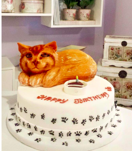 Cat Themed Cake - 3D Cake Topper - 1 Tier 01