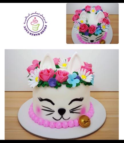 Cat Themed Cake - Cat Head - 2D Cake  - Fondant Cake 08