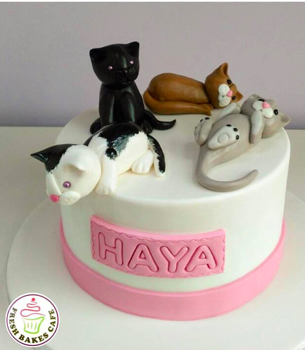 Cat Themed Cake - 3D Cake Toppers - 1 Tier 02a
