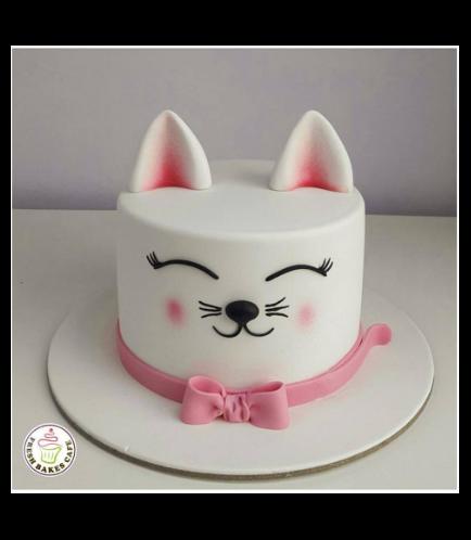 Cat Themed Cake - Cat Head - 2D Cake  - Fondant Cake 01