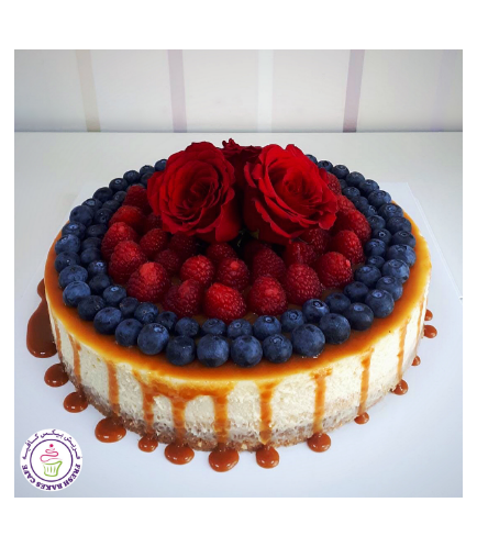 Cheesecake with Berries & Flowers