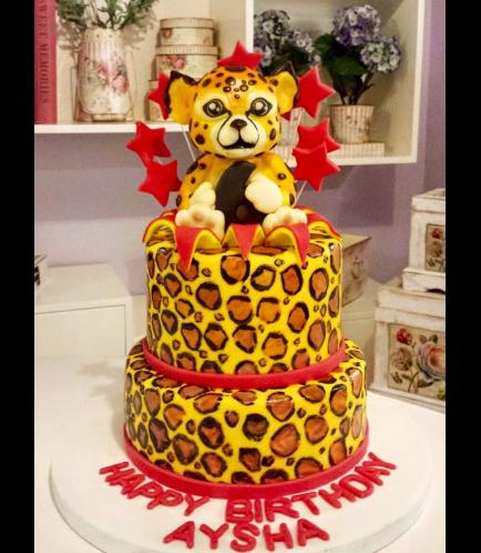 Cheetah Themed Cake - 3D Cake Topper