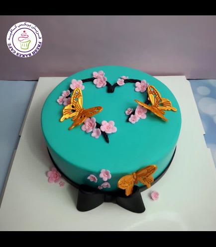 Butterflies & Cherry Blossoms Themed Cake