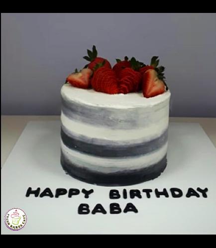 Chocolate & Vanilla Layered Cake with Strawberries on Top