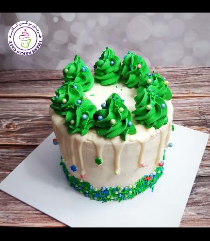 Cake - Dessert - Funfetti Cake - Christmas Tree Piping