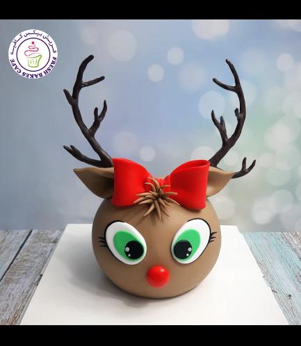 Cake - Decorative - Reindeer - 2D Cake - Round Shape