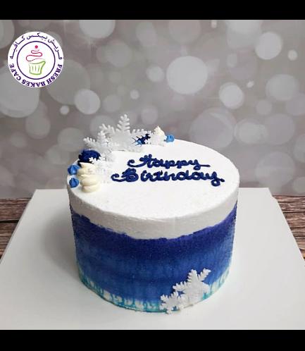 Cake - Decorative - Snowflakes - Cream - Blue