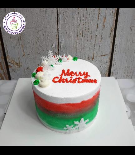 Cake - Decorative - Snowflakes - Cream - Christmas Colors