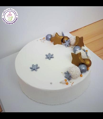 Cake - Decorative - Snowflakes & Stars - Cream