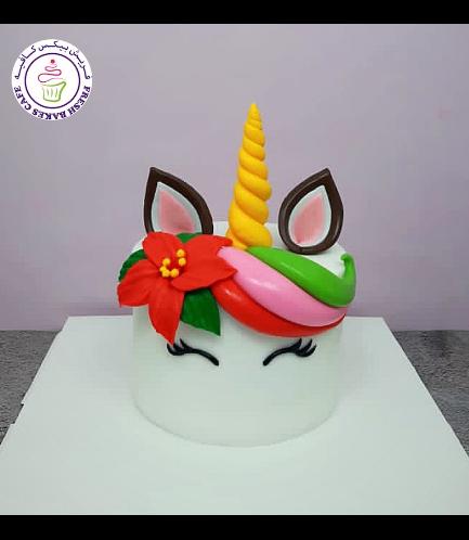 Cake - Decorative - Unicorn - Fondant Cake - Poinsettia Flower 01