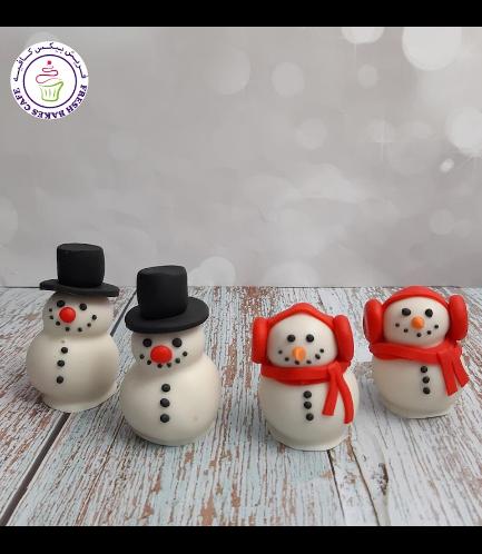 Cake Pops w/o Sticks - Snowmen 01