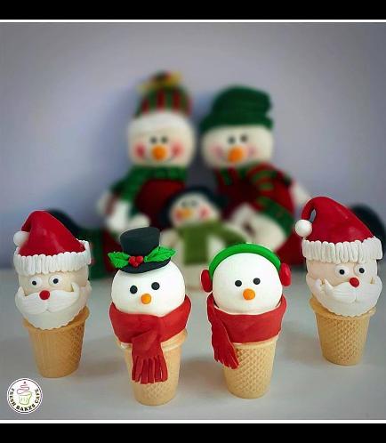 Christmas Themed Cone Cake Pops - Santa & Snowman 02