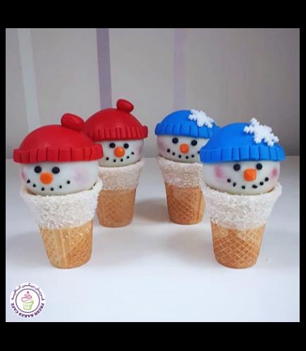Cone Cake Pops - Snowmen 02