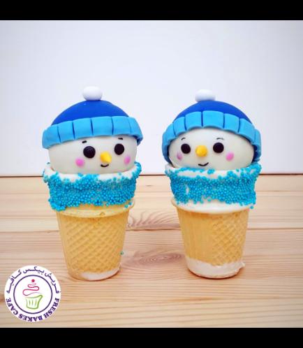 Cone Cake Pops - Snowmen 03