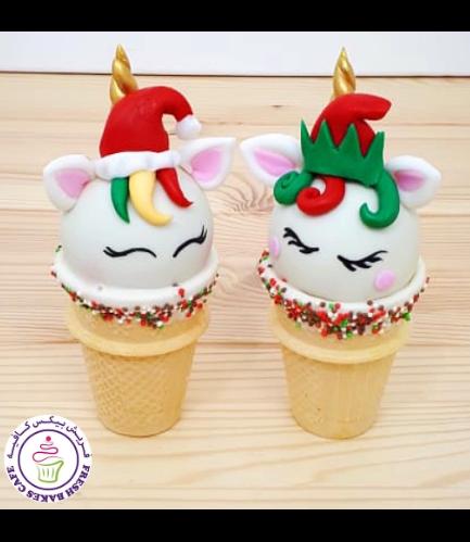 Christmas Themed Cone Cake Pops - Unicorns