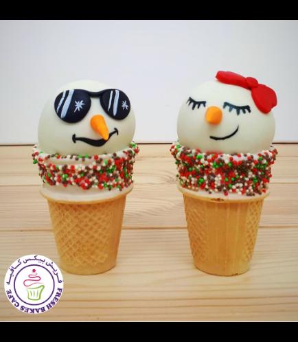 Cone Cake Pops - Snowmen 04