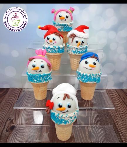 Cone Cake Pops - Snowmen 05