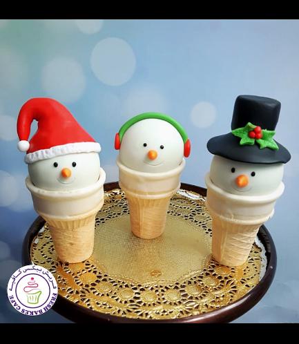 Cone Cake Pops - Snowmen 06