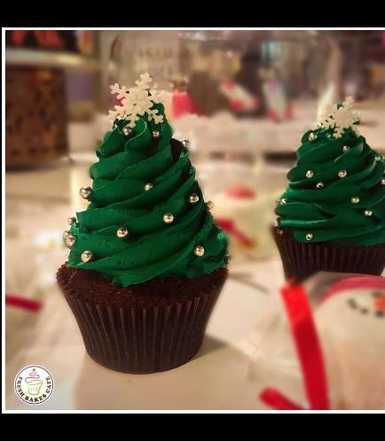 Cupcakes - Christmas Trees - Cream 01