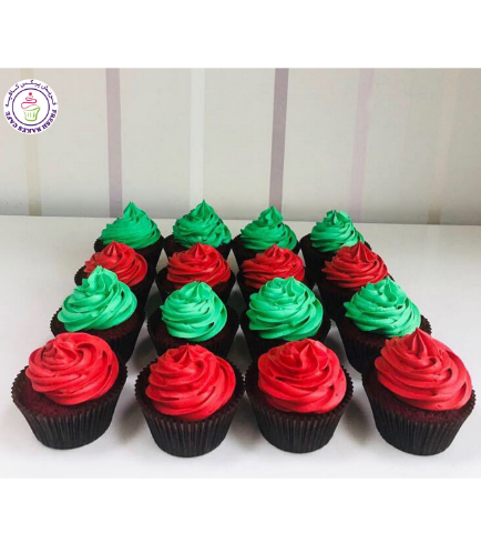 Cupcakes - Green & Red Icing