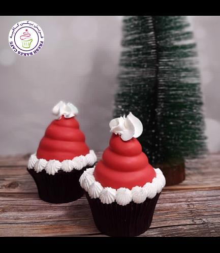 Cupcakes - Santa's Hats - White Cloud