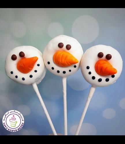 Christmas Themed Donut Pops - Snowmen 02