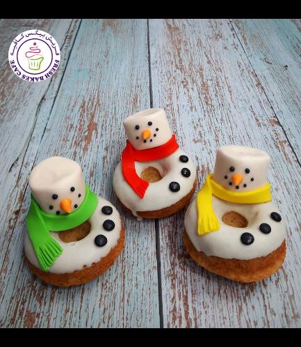 Christmas Themed Donuts - Snowmen - Marshmallow