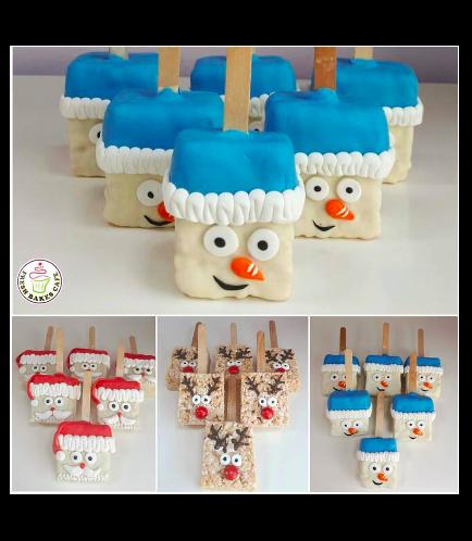 Christmas Themed Krispie Treats - Reindeer, Santa, & Snowman 01