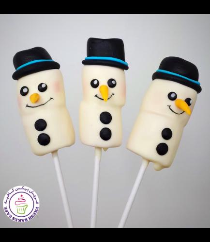 Christmas Themed Marshmallow Pops - Snowmen 02