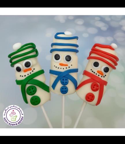 Christmas Themed Marshmallow Pops - Snowmen 04