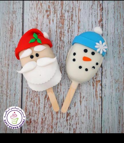 Christmas/Winter Themed Popsicakes - Santa & Snowman