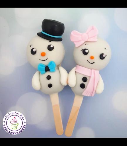 Christmas Themed Popsicakes - Snowmen 02