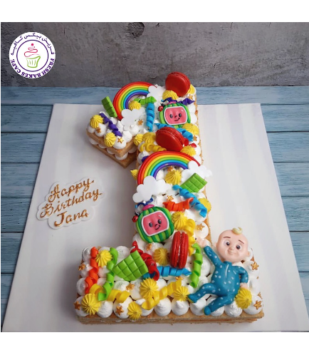 CoComelon Themed Cake - Number Cake - #1