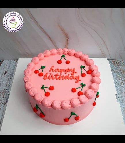 Cherry Themed Cake - Cream Piping