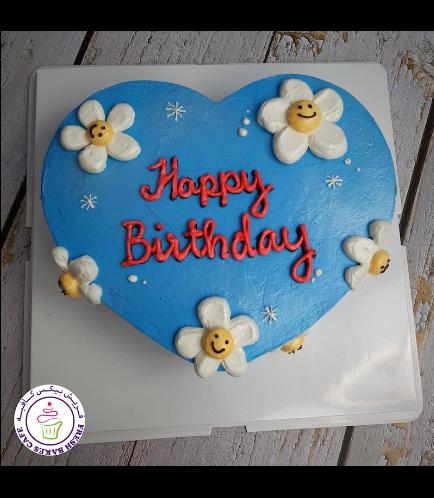 Cake - Heart Shaped - Flowers