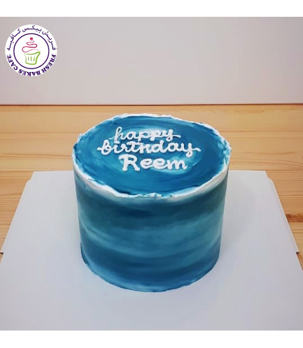 Cream Ombre Cake - Shaded - Blue - Round 08