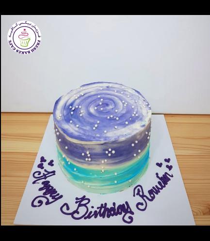 Cream Ombre Cake - Shaded - Purple & Blue - Round 02