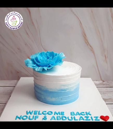Cake - Peony - Cream Cake - Shaded - Blue & White 03