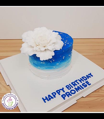 Cream Ombre Cake - Peony - Blue & White