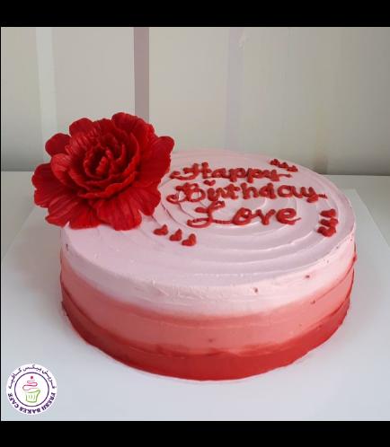 Cream Ombre Cake - Peony - Red
