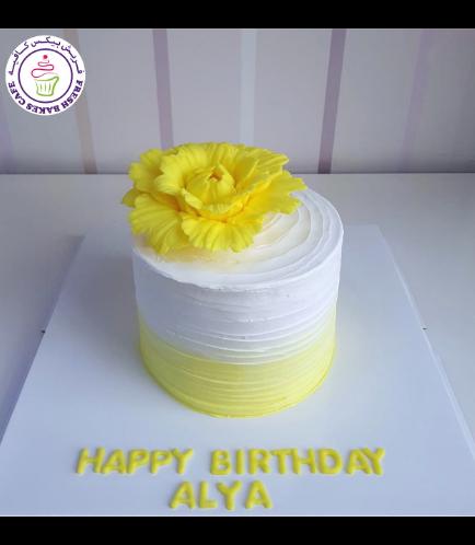 Cream Ombre Cake - Peony - Yellow