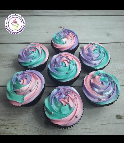 Cream Rose Cupcakes - Multi-Colors 01