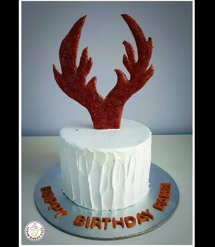 Deer Themed Cake - Antlers Cake Topper