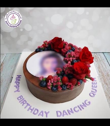 Cake - Photo - Round - Cream - Chocolate Cake with Berries & Flowers