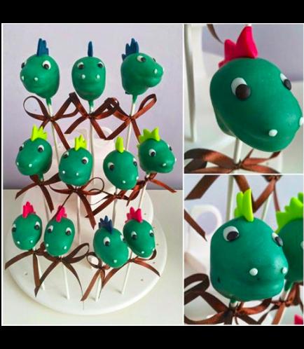 Dinosaur Themed Cake Pops - Dinosaur Head 01
